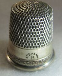 446 X's On Band Sterling Silver Thimble - Simon's Bros.co. Size 8