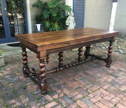 Fabulous Antique French Barley Twist Dining Table Fruitwoods W Leafs Desk 1800s