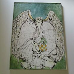 Mystery Painting Vintage Large Expressionism Angel Portrait Abstract Modernism