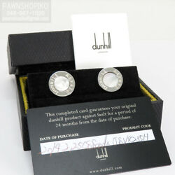 Dunhill Sterling Silver X Shell Cufflinks White X Silver Logo Round With Box