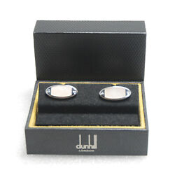 Dunhill Shell Cufflinks Sterling Silver 925 Oval With Case