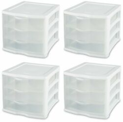 4 Pack Sterilite 17918004 Clearview Portable 3 Storage Drawer Organizer Cabinets