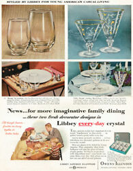 Libbey Every Day Crystal Royal Fern Tempo Goblet Glassware 1956 Magazine Ad