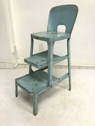 Vintage Step Stool Metal Folding Steel Chair Retro Bar Kitchen Blue Country 50s
