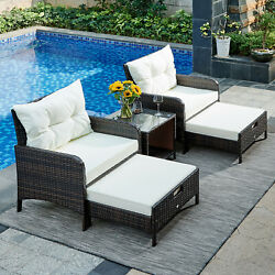 5pcs Patio Wicker Bistro Set Outdoor Rattan Chairs With Ottoman And Storage Table