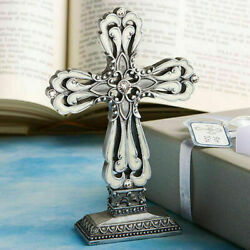 10-72 Pewter Cross Statue W/ Ivory Inlay - Religious Wedding Baptism Favors