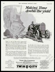 1920 Twin City Tractor Farm Farmer And Father Time Art Vintage Print Ad