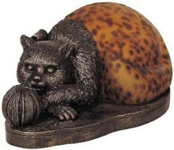 Terra Cottage Kitten Laying With Yarn Colored Glass Table Lamp Cat Feline