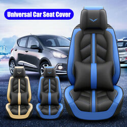 5 Seats Car Seat Covers Full Set Leather Front Rear Back Padded Universal Fit