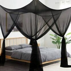 Black Mosquito Net 4 Corner Post Bed Canopy With Hanging Kit King Size