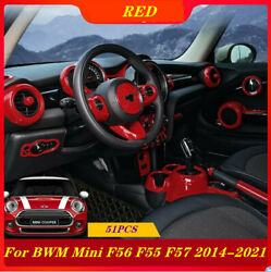 Abs Red Interior Accessories Whole Kit Covers Trim Fit For Mini Cooper F55 F56