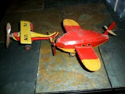 2 Lot Vintage Wood And Metal Tin Toy Airplanes Propellers Antique Folk Art