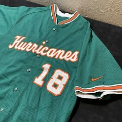 Vintage Nike Miami Hurricanes On Field Usa Channel 18 Baseball Jersey Size 46