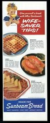 1956 Miss Sunbeam Bread Waffle Grilled Cheese Casserole Recipe Vintage Print Ad