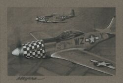 Original Drawing Aviation Art P-51 Mustangs 8th Air Force 78th Fighter Group