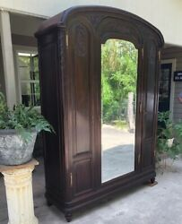 Antique French Armoire Wedding Wardrobe Recessed Panels Carving Shelves Keyed