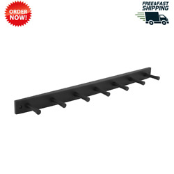 Wood Hook Rack, 7 Peg, Black, Hang And Store Your Hats, Coats, Purses And More