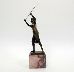 Antique Bronze Sculpture Of A Girl Semi Nude With Whip Ernst Beck 1879-1941
