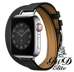 Hermes Apple Watch Series 6 Double Tour Attelage Noir Band 40mm Silver Buckle