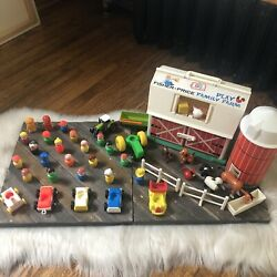 Vintage Fischer Price Large Farm Barn Animals People Car Toy Lot