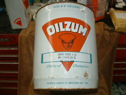 Original Vintage Oilzum Huge 5 Gallon Motor Oil Can Approximately 50 Years Old