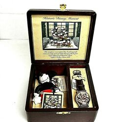 Disney Mickey Mouse Watch Wooden Case Limited To 5,000 Worldwide W/doll F/snwt