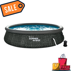 Sale Summer Waves 14 X 3 Ft Quick Set Above Ground Swimming Pool With Pump And L