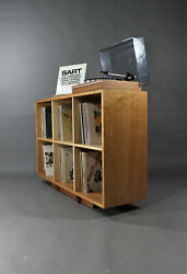 Solid Cherry And Hard Maple Record Vinyl Storage Unit Bookcase Mid Century Style