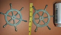 Antique Style Nautical Mariner Ships Wheel Wall Decor Plaque Cast Iron N-27