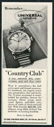 1949 Universal Geneve Country Club Watch Photo Vintage Print Ad