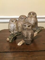 Fred Aman 4 Owls On A Branch Signed Numbered. No Box