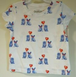 New OshKosh Red White amp; Blue Puppies amp; Kittens Top Girl#x27;s Size 18 Month