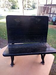 Antique Usa Country Primitive Cast Iron Wood School Desk Chair Bench Plant Stand