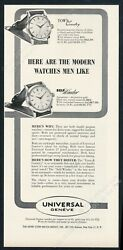 1950 Universal Geneve Town And Country Self Winder 2 Watch Photo Vintage Print Ad