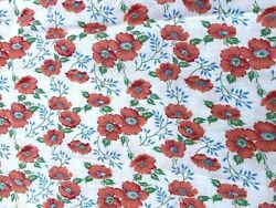 3 Matching Vintage Feedsack Cotton Fabric 30s 40s Sweet California Poppies 37x21