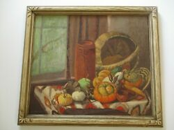 Antique Still Life Painting Native American Indian Mexican Pot Basket Rug Listed