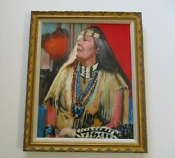 Vintage Contemporary Painting Native American Indian Woman Jewelry Signed