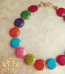 Rainbow Faceted Jade Statement Necklace Chunky Jewelry Red Blue Purple Green