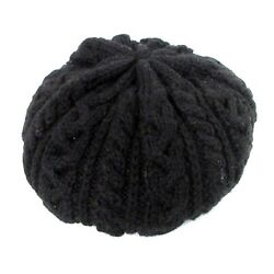 Highland Hat Beret Knit Cable Knitting Wool Plain Black /mm Women And039s