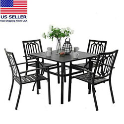 5pcs /set Outdoor Patio Dining Set With 37 Inch Table And 4 Chairs