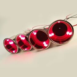 4pcs Cup Drink Holder 3 Led With Drain Marine Boat Rv Camper Red Stainless Steel