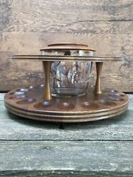 Vintage Decatur Industries Wood 18 Pipe Stand Holder Glass Tobacco Jar Humidor