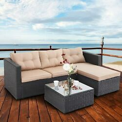 Patio Furniture Set Rattan Outdoor Sectional Sofa Chairs End Table With Cushion