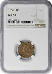 1859 Indian Cent Ms61 Ngc