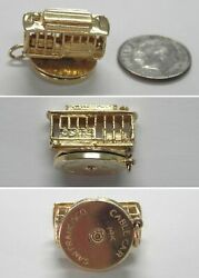 J984 Vtg 14k Solid Yellow Gold 3d San Francisco Trolley Cable Car Charm Turns
