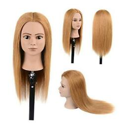 100 Real Human Hair Mannequin Head Cosmetology Training Light Blonde 407