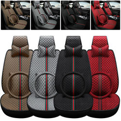 5d Universal Car Seat Cover Full Set Texture Pu Leather For Front Rear 5 Seats