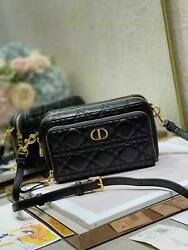 Dior Caro Double Pouch Black Supple Cannage Calfskin