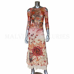 Save The Queen Long Dress Sicily Inspired Print Stretch Tulle 3/4 Sleeves Sz M