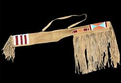 Indian Beaded Rifle Scabbard Sioux Style In Suede Leather Native American S515